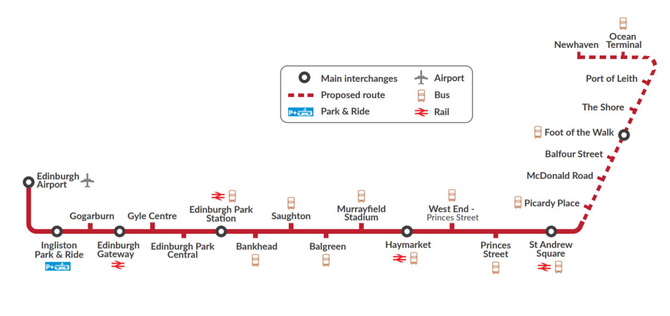 Edinburgh Tram Extension Route